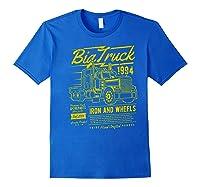 Big Truck Semi Truck Retro Distressed T-shirt Royal Blue