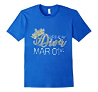 Birthday Diva On March 1st Pisces Pride Shirts Royal Blue