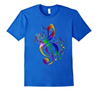 Treble Clef With Music Notes Shirts Royal Blue
