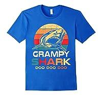 Grampy Shark Doo Doo Doo Fathers Day Gift Shirts Royal Blue