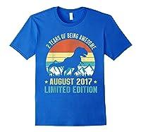Born August 2 Limited Edition 2nd Birthday Dinosaur Shirts Royal Blue