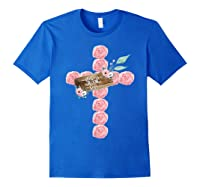 Where Flowers Bloom So Does Hope Floral Christian Cross Shirts Royal Blue