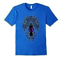 Bodhi Tree With Japanese Symbol Yoga Shirts Royal Blue