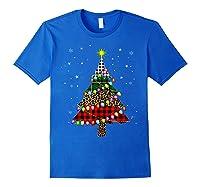 Christmas Tree Leopard Print Buffalo Plaid Merry Xmas Gift Shirts Royal Blue
