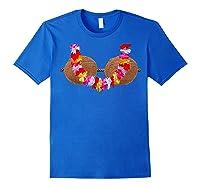 Mermaid Coconut L T-shirt Beach Summer Bra Tee Royal Blue