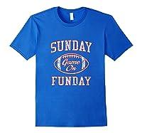 Vintage Sunday Funday T Shirt New England Football Retro Tee Royal Blue