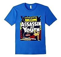 Marijuana Warning Reefer Madness Fun Vintage Funny Graphic Shirts Royal Blue