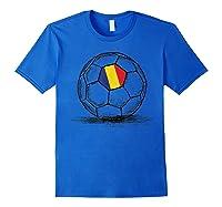 Romania Romanian Flag Design On Soccer Ball Artsy Football Shirts Royal Blue