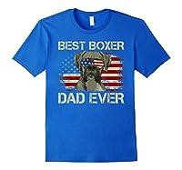 Best Boxer Dad Ever Dog Lover American Flag Gift Shirts Royal Blue
