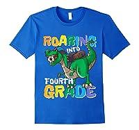 Roaring Into Fourth Grade 4 Dinosaur Back To School Soccer Shirts Royal Blue