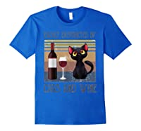 Cat Easily Distracted By Cats And Wine Shirts Royal Blue