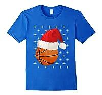 Christmas Stars Basketball Ball Santa Hat Funny Sports Xmas T-shirt Royal Blue