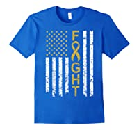Childhood Cancer Awareness T-shirt American Flag Distresse T-shirt Royal Blue