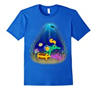 Underwater Treasure Hunter Cat Adventure Shirts Royal Blue