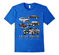 Classic American Muscle Cars Vintage Gift Shirts Royal Blue