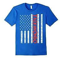 Us Flag Taekwondo Vintage Patriotic Martial Arts Lover Gift T-shirt Royal Blue