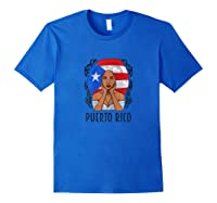 Vintage Puerto Rico Girl Woman Puerto Rican Flag Shirts Royal Blue