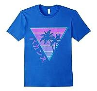 90's Retro Palm Japanese Otaku Grunge Aesthetic Vaporwave Shirts Royal Blue