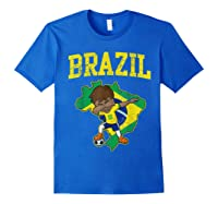 Brazil Soccer Boy Brazilian Football Dabbing Shirts Royal Blue