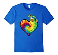 Tie-dye Heart Love Tree Frog Cute Funny Colorful T-shirt Royal Blue