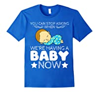 Baby Family Pregnant Mother Daughter Son Design Having Baby Shirts Royal Blue