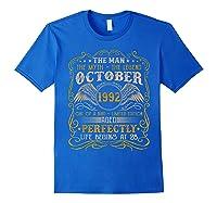 October 1992 Man Myth Legend 28th Birthday 28 Years Old Shirts Royal Blue