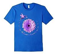 Hummingbird Sunflower Purple Ribbon Alzheimer's Awareness Shirts Royal Blue