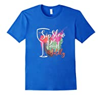 Paint And Sip Art Night Party Wine Canvas Wild Fun Shirts Royal Blue