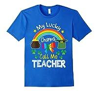 Rainbow Shamrock My Lucky Charms Call Me Tea Shirts Royal Blue