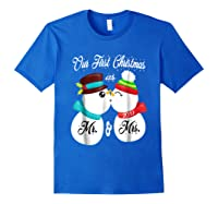 Our First Christmas As Mr And Mrs 2019 Matching Couple Shirt Royal Blue