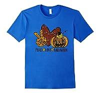 Peace Love Halloween Leopard Print Pumpkin Custom Gift Premium T-shirt Royal Blue