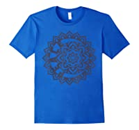 Peace Inside Crescent Moon Inside Flower Graphic Shirts Royal Blue