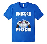 Unicorn Mode Rainbow Stars Hustle Muscle Work Party Shirts Royal Blue