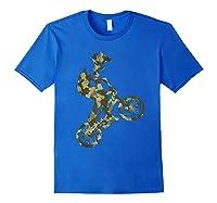 Racing Extreme Sports Bike Rider Camouflage Design Shirts Royal Blue