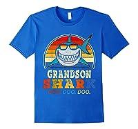 Vintage Grandson Shark T-shirt Birthday Gifts For Family Royal Blue
