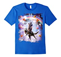 Laser Eyes Space Cat On Dinosaur - Rainbow T-shirt Royal Blue