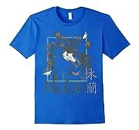 Disney Mulan Floral Square Portrait T-shirt Royal Blue