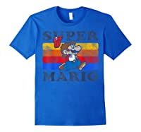 Super Mario Losing Hat Stripes Shirts Royal Blue