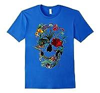 Skull Flowers Tulip Sugar Skull Tree Floral Skull Rose T-shirt Royal Blue
