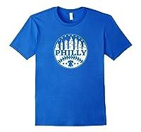 Vintage Distressed Philadelphia Philly Baseball City Skyline Shirts Royal Blue