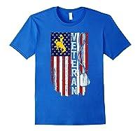 Wing Cow Veteran Veteran Flag Apparel Shirts Royal Blue