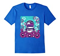 Astronaut Flowers Daisy Bubble Ocean Shirts Royal Blue