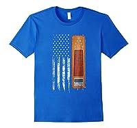 Vintage Pedal Steel Shirt - American Us Flag Shirt Royal Blue