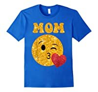 Emoji Gift For Mom Kissing Emoji Heart Mothers Day Shirts Royal Blue