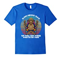 Sloth Hiking Team We Will Get There Retro Vintage Shirts Royal Blue