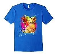 Pixar Up Dug Watercolor Rainbow Graphic Shirts Royal Blue