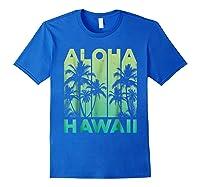 Aloha Hawaii Hawaiian Island Vintage 1980s Throwback Shirts Royal Blue