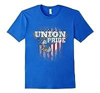 Union Pride American Flag Eagle Labor Day Usa Worker Shirts Royal Blue