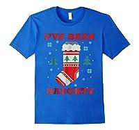 Naughty & Nice Matching T-shirts, Ugly Christmas Sweater #1 Royal Blue