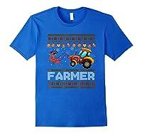 Tractors Farmer Christmas Funny Farming Xmas Gift Shirts Royal Blue